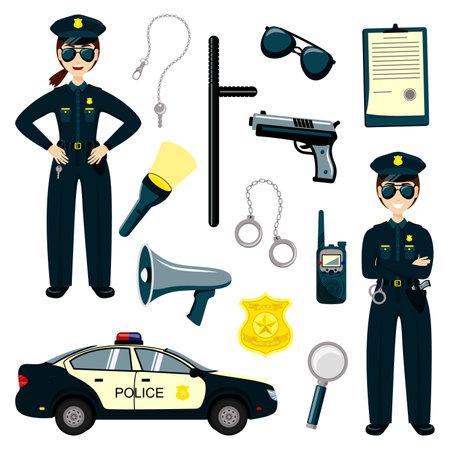 Police kids set. Gun, radio and police badge, child character play security or policeman job. Иллюстрация