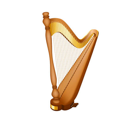 Realistic image of the concert harp. National Irish string musical instrument. Classic musical string instrument, as well as a symbol of celebrations of traditional events.