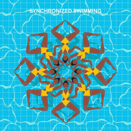 Woman athlete on the performance of synchronized swimming. Set of vector elements in the womens synchronised swimming.