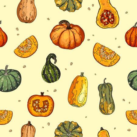 Pumpkins. vector seamless pattern. Autumn texture for thanksgiving, harvest and halloween. Vector Illustration