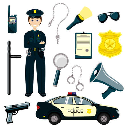 Stickman Kids Police Officer. Gun, radio and police badge, child character play security or policeman job. Vector isolated illustration icons set