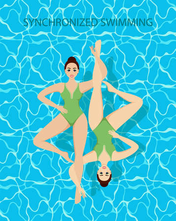 Synchronized Swimmers. Synchronized swimming banners water sport. Иллюстрация