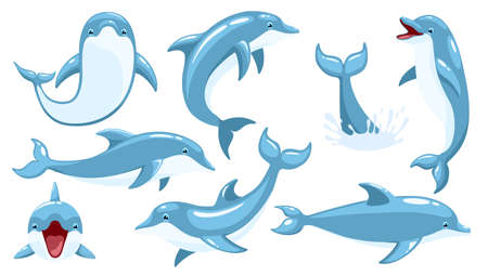 Set of cute dolphins. Cute blue dolphins set, dolphin jumping and performings tricks with ball for entertainment show