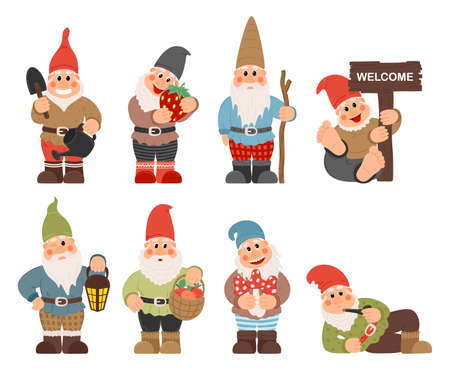 Gnome characters. Cute gnomes with beard funny garden decoration. Classic Garden Gnomes In Colorful Outfits Set Of Cartoon Characters Different Situations
