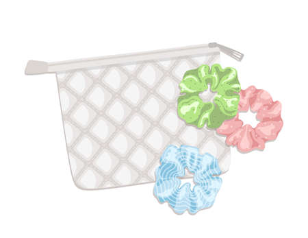 Scrunchies with a bag. For prints, posters, cards, banners and t-shirt design.