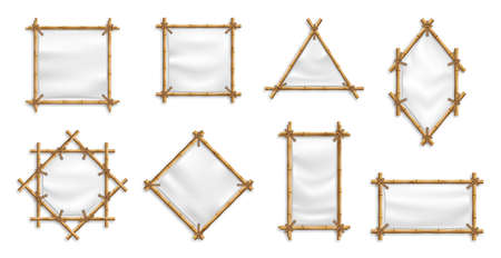 Bamboo Banner Frame Set Vector. Bamboo With Canvas. Chinese signs with blank textile banners.