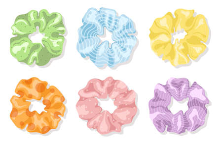 Hair scrunchies set. Perfect for hairdress salon, kids shop, beauty and fashion store. Иллюстрация