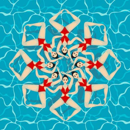 Synchronized Swim Team. Extreme sports. Active lifestyle. Teamwork training in water.