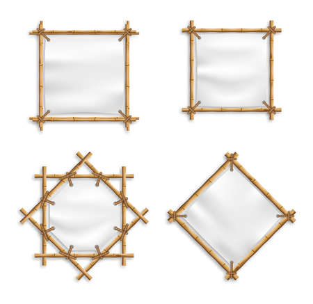 Blank White Canvas In Bamboo Frames Set Vector. Wood stick banners of various shapes. Japanese rustic bamboo sign