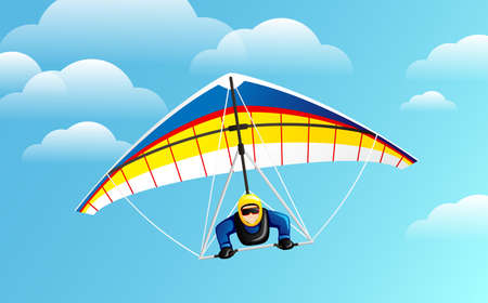 Hang Gliding. Man taking part in hang gliding competitions.