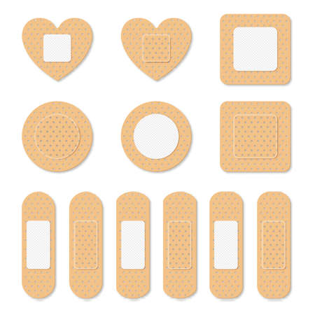 Adhesive bandage elastic medical plasters set isolated. Art design medical elastic patch. Abstract concept graphic different shape element. Иллюстрация