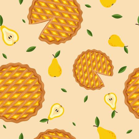 Seamless pattern of peach pie. Иллюстрация