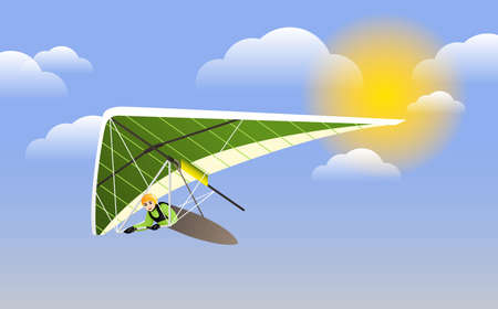 Hang Glider in Helmet and Uniform Soaring Thermal Updrafts Suspended on Harness Below the Wing. Hang Gliding at the Blue Sky Clipart Vetores