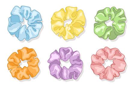 Modern Silk Scarf. Hair scrunchies. Girls scrunchies for hears. Vector illustration EPS10