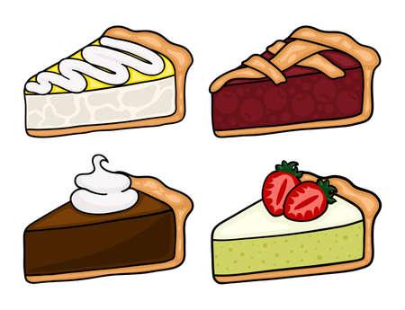 Cartoon pie slices set. Set of traditional American pies illustrations. Cute cartoon vector drawings.