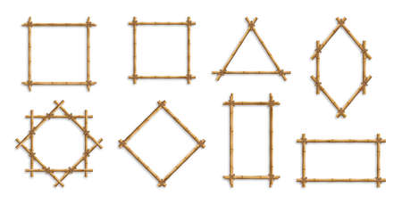 Bamboo frames. Brown bamboo sticks tied with ropes of square, rectangular and round shapes. Japanese style realistic 3d empty frames for banners or photos Иллюстрация