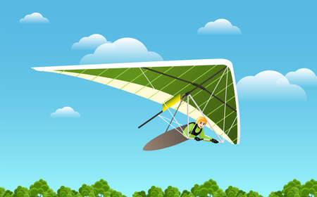 Microlight aircraft. Extreme Outdoors Sport Activity, Sky Diving Sportsman Flying Paraplane Cartoon Flat Vector Illustration
