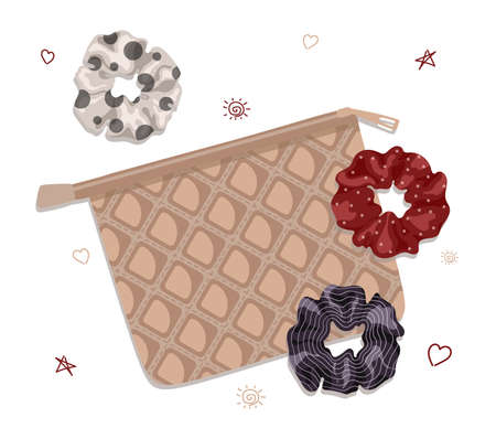 Scrunchies with bag in cartoon style. Perfect for hairdress salon, kids shop, beauty and fashion store.