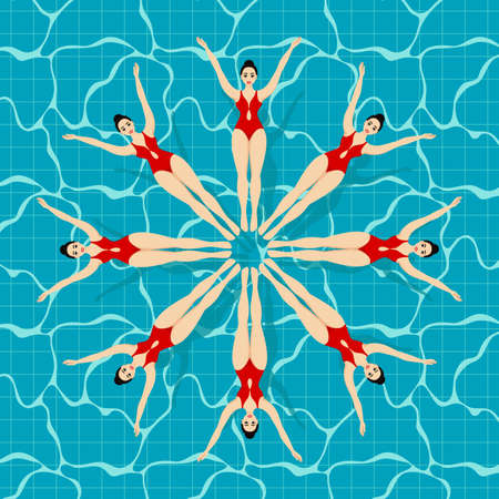 Synchronized swimming sport. Synchronized swimming lettering on a background with different swimmers. Иллюстрация