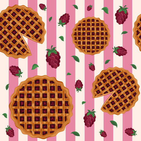 Seamless pattern with pie. Design for bakery, pastry, confectionery menu. Cartoon style. Иллюстрация