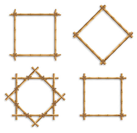 Bamboo frames. Wood stick banners of various shapes. Japanese style realistic 3d empty frames for banners or photos