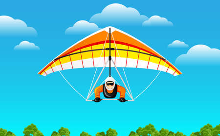 Microlight aircraft. Extreme Outdoors Sport Activity, Sky Diving Sportsman Flying Paraplane.
