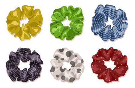 Scrunchies in cartoon style. Perfect for hairdress salon, kids shop, beauty and fashion store.