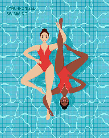 Woman athlete on the performance of synchronized swimming performing art elements. Professional athletes womens team of synchronized swimming