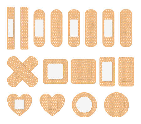 Vector set of medical plaster, elastic bandage patch. Collection of adhesive bandages, plasters or patches isolated on white background.