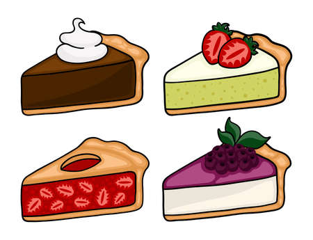 Cute cartoon pie slices set. Cherry, bleuberry, apple and peach pie drawing. Isolated vector illustration.
