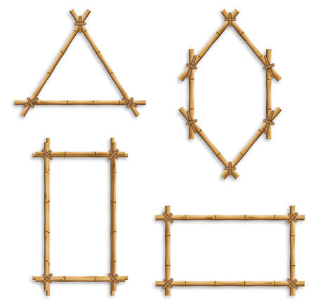 Set of vector bamboo frames. Bamboo frames, isolated vector borders made of wooden brown bamboo sticks tied with ropes of square, rectangular and round shapes. Иллюстрация