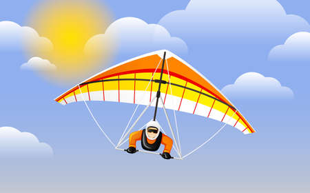 Hang gliding character vector. Cheerful hang gliding tandem flying in sky