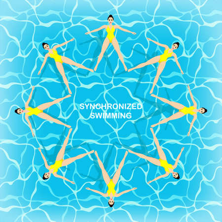 Synchronized swimming team. Group performance in the water. Artistic swimming concept. Colorful background. Water sport concept. Иллюстрация