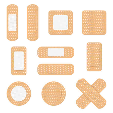 Medical plaster. Medical plasters isolated on white background. Healthcare element, plaster tape protection in different shapes. Cartoon flat style