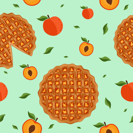 Seamless pattern with peach pie. Design for bakery, pastry, confectionery menu. Cartoon style.