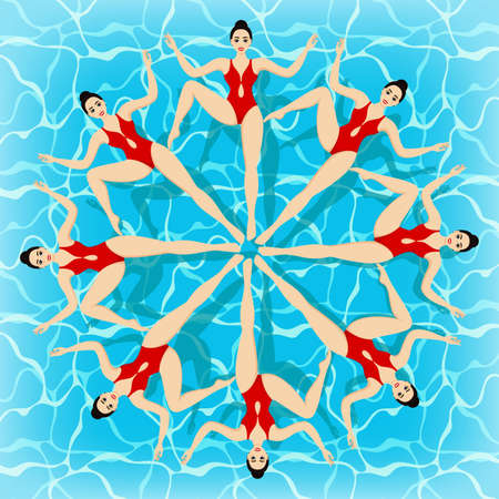 Synchronized swimming - summer game event in cartoon style. Competitions or training in the swimming pool. Water sports concept.