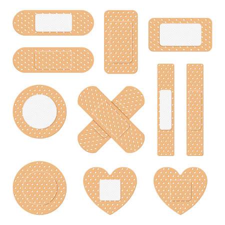 Adhesive plaster. Creative vector illustration of adhesive bandage elastic medical plasters set isolated on white background. Art design medical elastic patch. Иллюстрация