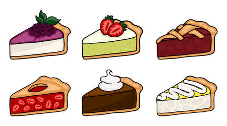 Cute cartoon pie slices set. Layered sponge cakes with fruit and chocolate, cheesecake, pie.