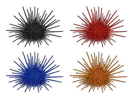 Set of Sea urchin icon in silhouette style. Vector illustration of marine animals separately on a white background with a transparent shadows.