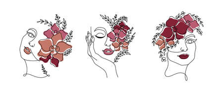 Line art women faces with color flowers. Continuous line art in minimalistic style for prints, tattoos, posters, textile, cards etc.