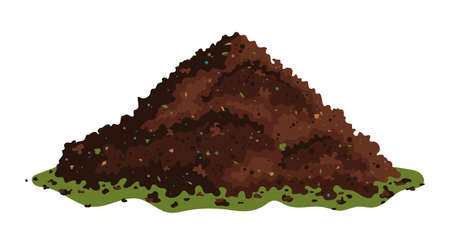 One big brown heap of organic compost in side view isolated illustration, fertile soil for growing garden crops. Vector illustration isolated on white background.