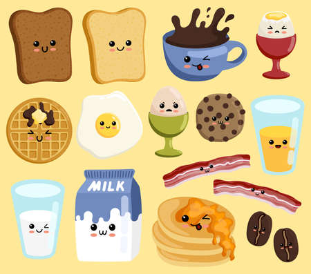 Set of cute breakfast vector set. Kawaii smiling happy face food icon illustration. Breakfast food and beverages, cute vector icons set. Cute cartoon characters. Vetores