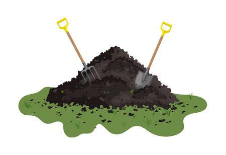Hummus peat soil. Peat organic soil heap with a shovel. Flat vector doodle illustration. Vettoriali