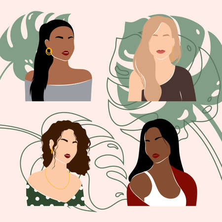 Abstract woman portraits. Set of female silhouettes. Figure of a stylish woman. Jewelry and accessories, makeup. Minimalist modern portrait. Ilustração Vetorial