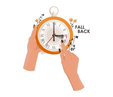 Daylight saving time concept. The clocks moves forward one hour to daylight-saving time. Fall back. Hands move the clock hand Vektorové ilustrace