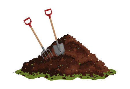 Hayfork and shovel in a pile of ground. One big brown heap of organic compost in side view isolated illustration