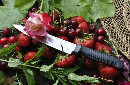 fruits food natural organic product flowers rose utility knife Banco de Imagens