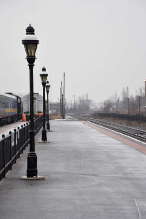 Empty train platform at a railroad station