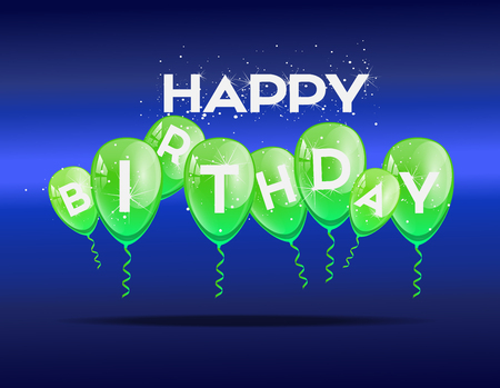 green balloons: Birthday background with green balloons