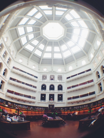 eye: Fish eye effect of interior State Library of Victoria  Stock Photo